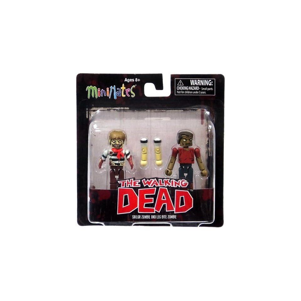 Diamond Select Toys Walking Dead Minimates Series 2 Sailor Zombie and Leg Bite Zombie , 2 Pack