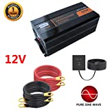 5000W Pure Sine Wave Power Inverter with 4 AC Outlets and Led Display DC 12V to AC 110V DC Car Inverter for RV, Home, Car Use - Peak 10000W,12V (Color: 12V)