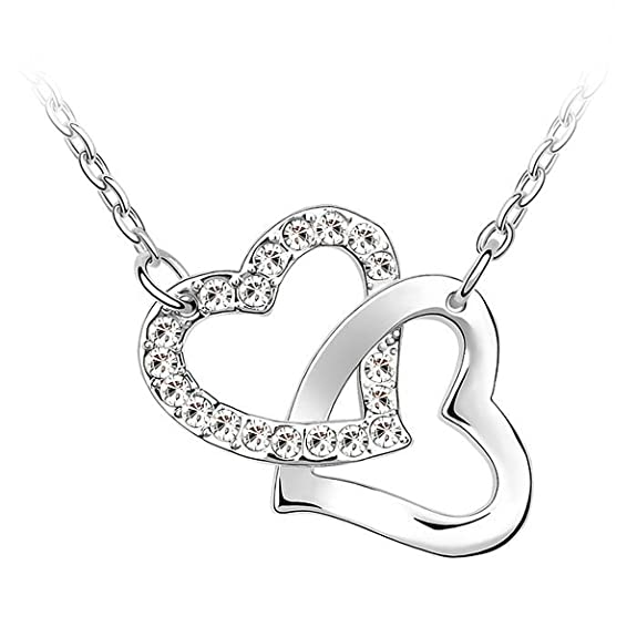 Le Premium® Hearts Together Necklace With Pendant MADE WITH SWAROVSKI® ELEMENTS Crystal Clear -- $12.75