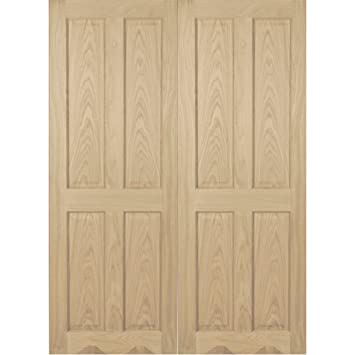 "Green Tree Doors Oak 4 Panel RM0 Internal Door Pair 1387mm (686mm (27""))"