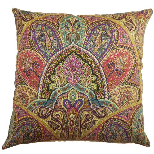 The Pillow Collection La Ceiba Paisley Pillow, Gemstone