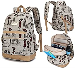 Kinmac London Lady Pattern Laptop Backpack with Massage Cushion Straps for Laptop up to 15.6 Inch and Macbook Pro 15 Travel Backpack for Men and Women Student Outdoor Backpack