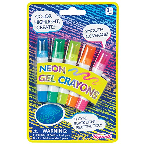 Toysmith Neon Gel Crayons (5-Pack, Neon Blue, Green, Orange, Yellow, and Pink)