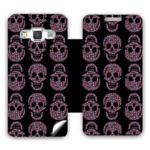 Skintice Designer Flip Cover with a hi-res printed Vinyl Wrap-around for Samsung Galaxy A3 , Design - Skull Pattern