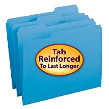 Smead 1/3-Cut File Folders, Heavy Duty Reinforced Tab, Letter Size, Blue, 100 Per Box (12034)