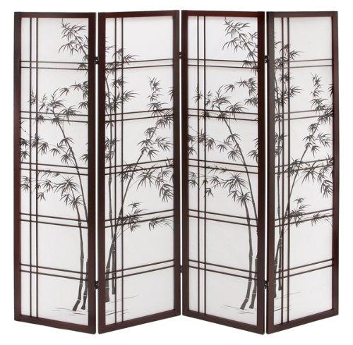 4 Panel Shoji Wood Folding Screen Room Divider Best Buy Exclusive