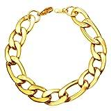U7 316L Stainless Steel Based Figaro Chain Link Bracelet 21CM Long, 5mm 9mm 12mm Wide (Gold(12mm Wide)) (Color: gold(12mm wide), Tamaño: medium)