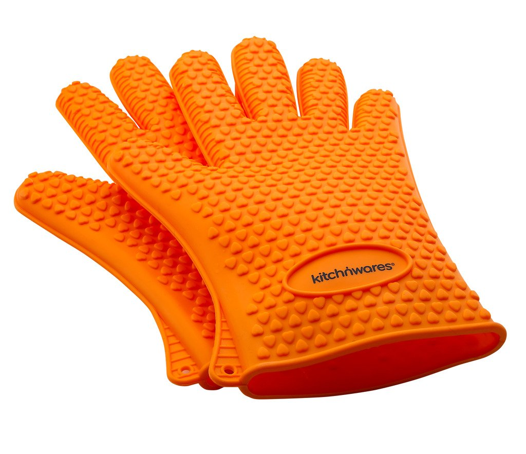 Orange Heat Resistant Silicone Gloves - Great for Use In Kitchen Handling All High Temperature Food - Potholder - Protective Oven, Grilling, Baking, Smoking and Cooking Gloves  ..