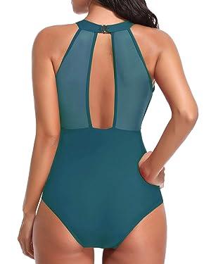2497ba6c31 Tempt Me Women One Piece High Neck V-Neckline Mesh Ruched Monokini Swimwear  Malachite Green XL