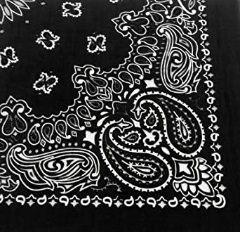 "Military Army Trainmen Paisley Bandanas (Black - 27"")"
