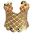 Yazilind Gold Plated Ancient Aopper Linked Concave Hollow-Out Cuff Bracelet Adjustable