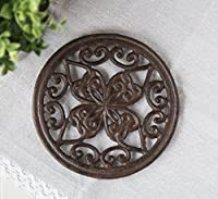 Cast Iron Trivet | Round with Vintage Pattern | Decorative Cast Iron Trivet For Kitchen Or Dining Table | 7 ' Diameter | With Rubber Pegs | by Comfify CA-1504-07-BR