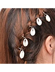 Imported 5 Pcs Sea Shell Hairpin Jewelry Band In Silver Alloy Boho Hair Accessories