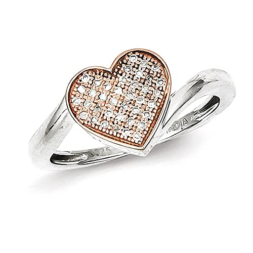 Sterling Silver & 14K Rose Gold Diamond Heart Ring