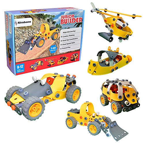 Junior Builder [148 pcs] Educational Construction Engineering Set Toy for Kids, Build and Play Building Blocks Stacking Toys for Children [Boys and Girls] 8 Years and Above