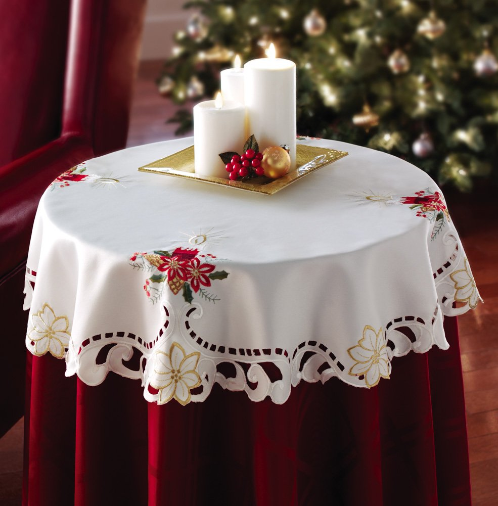 Holiday Christmas Candle Decorative Table Linen Topper