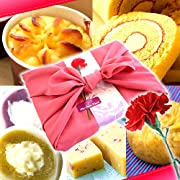 母の日ギフト用 お芋スイーツ 和菓子ギフトセット(竹籠入りピンク風呂敷包)