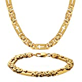WESTMIAJW Solid 18K Yellow Gold Filled Over Stainless Steel Chain Necklace Byzantine Bracelet Set,24
