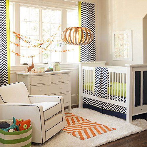 Navy And Citron Zig Zag Drapes With Vertical Trim (Set Of 2 Panels) 96-Inch Length Standard Lining 4
