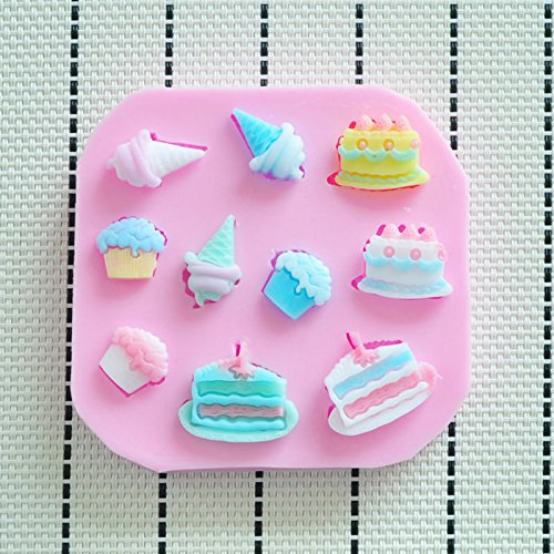 WilsonBaking Love Collection - Cake and Ice Cream Birthday Party Molding Theme Silicone Fondant Lace Molds Serie - Fondant and Gum Paste Silicone Mold Cake Molds for Kids