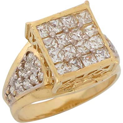 9ct Two Colour Gold White CZ Cluster Ladies Uniqe Wedding Anniversary Ring