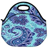 Snoogg Paisley Print Blue Travel Outdoor Carry Lunch Bag Picnic Tote Box Container Zip Out Removable Carry Lunchbox...