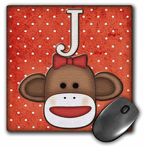 3dRose LLC 8 x 8 x 0.25 Inches Mouse Pad, Cute Sock Monkey Girl Initial Letter J (mp_102813_1)