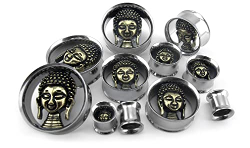 Pair 00 Gauge (00G - 10mm) 3D Buddha Stainless Steel Tunnel Plugs