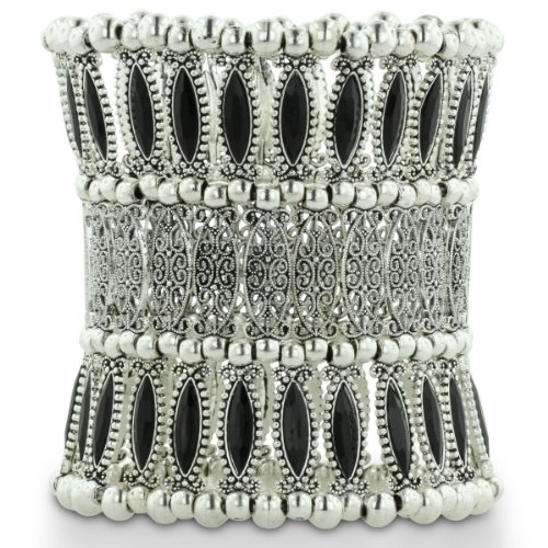 Triple Row Superwide Silver Tone Filigree and