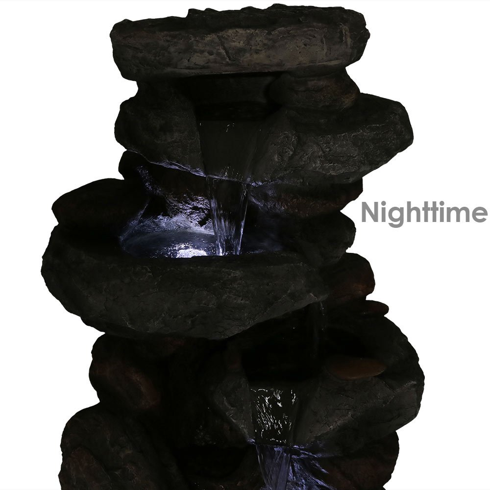 Sunnydaze Rock Falls Outdoor Water Fountain with LED Lights, 34 Inch Tall