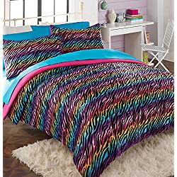 Teen Girl Comforter Sets Rainbow Zebra Bedding with Shams Designer Home Sleep Mask Bundle. Zebra Stripe Orange, Yellow, Red, Blue and Purple Bedding (Full/Queen)