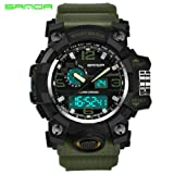 Hot Sale !Siviki Colourful Sport Watch,Luxury Double Display Cold Light Electronic Waterproof Wrist Watch (Army Green) (Color: Army Green)
