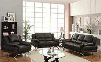 2 pc Maigan collection modern style black bonded leather match upholstered sofa and love seat set