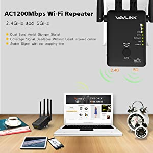 [Newest 2019] WAVLINK-WN575A3-AC1200 High Power Dual Band 2.4+5G 1200Mbps 3 in 1 Wireless AP/Router/WiFi Repeater Range Extender Internet Signal Booster Amplifier with 4 High Gain Antennas (Color: Indoor Use (4 Antennas), Tamaño: Dual Band (2.4GHz 300Mbps + 5GHz 867Mbps))