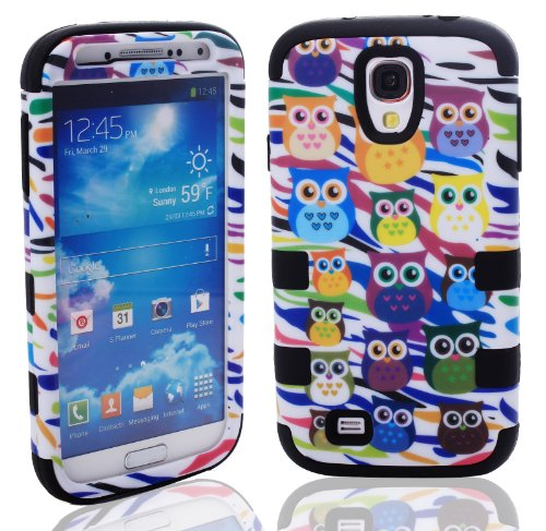 Magicsky Plastic + Silicone Hybrid Owl Zebra Design Hybrid Case For Samsung Galaxy S4 Iv I9500 - 1 Pack - Retail Packaging - Black