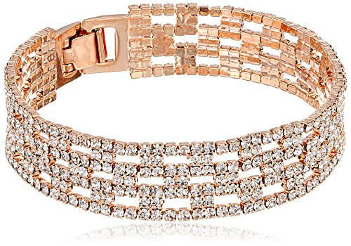 Oroclone 14K Rose Gold Plated 14Mm Box Pattern Crystal Tennis Bracelet