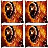 Snoogg Solar Eclipse Pack Of 4 Digitally Printed Cushion Cover Pillows 14 X 14 Inch