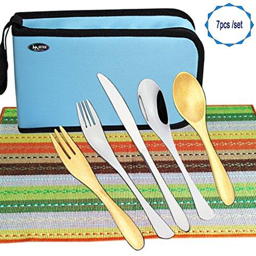iMustech® Travel Package Wooden & Stainless Steel Flatware Set, Wooden Tea Spoon & Salad Fork, Stainless Steel Dinner Knife, Spoon