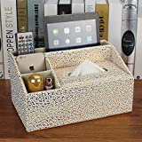 T-Queen Desktop PU Golden Pattern Leather Storage Box Compartments for Pen Business Card Remote Control Ipad Mobile Phone Cosmetics Office Supplies Holder Collection Desk Organizer (Gold)