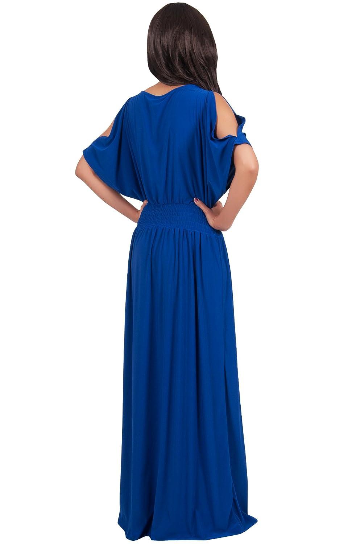 Koh Koh Women's Split Sleeves Smocked Elegant Cocktail Long Maxi Dress - Small - Sapphire Blue at Amazon Women's Clothing store