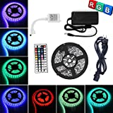 TWOPAGES 16.4ft 5M Waterproof Flexible strip 300leds Color Changing RGB SMD5050 LED Light Strip Kit RGB 5M +44Key Remote+12V 5A Power Supply