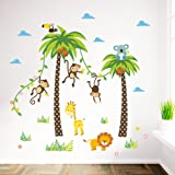ElecMotive Cartoon Forest Animal Monkey Crow Koala Coconut Palm Tree Nursery Wall Stickers Wall Murals DIY Posters Vinyl Removable Art Wall Decals for Kids Girls Room Decoration (Monkey Lion Giraffe) (Color: Monkey Lion Giraffe, Tamaño: 90 x 30 cm)
