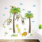 ElecMotive Cartoon Forest Animal Monkey Crow Koala Coconut Palm Tree Nursery Wall Stickers Wall Murals DIY Posters Vinyl Removable Art Wall Decals for Kids Girls Room Decoration (Monkey Lion Giraffe) (Color: Monkey Lion Giraffe, Tamaño: 90 x 30 cm)