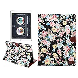 iPad Pro Case,SAVYOU Ultra Slim Lightweight PU Leather Flip Smart Cover Folio Smart-shell Stand Cover Case for Apple iPad Pro 12.9 inch(Flower Black)