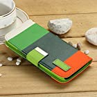 myLife (TM) Sun Burnt Orange + Spring Green {Stripe Design} Faux Leather (Card
