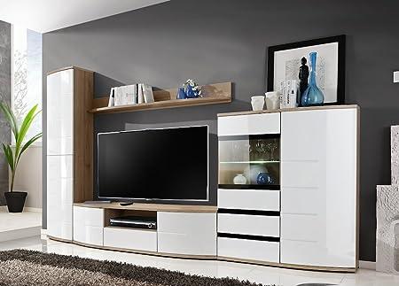 """BMF """"Toronto"""" moderne Wohnwand, Fernsehtisch, LED, Glasregal, gewölbt, Hochglanz-Fronten, San Remo/Weiß"""