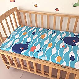Whale and Fish Pattern Baby Crib Fitted Sheet Cottom 120CM70CM (4727\'\')