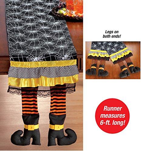 Spiderweb & Witch Legs Table Runner Halloween Decoration