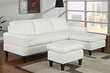 All in One Sectional in White by Poundex
