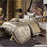4pcs jacquard mulberry silk bedding set satin bed linen/bedclothes (King, Style21)